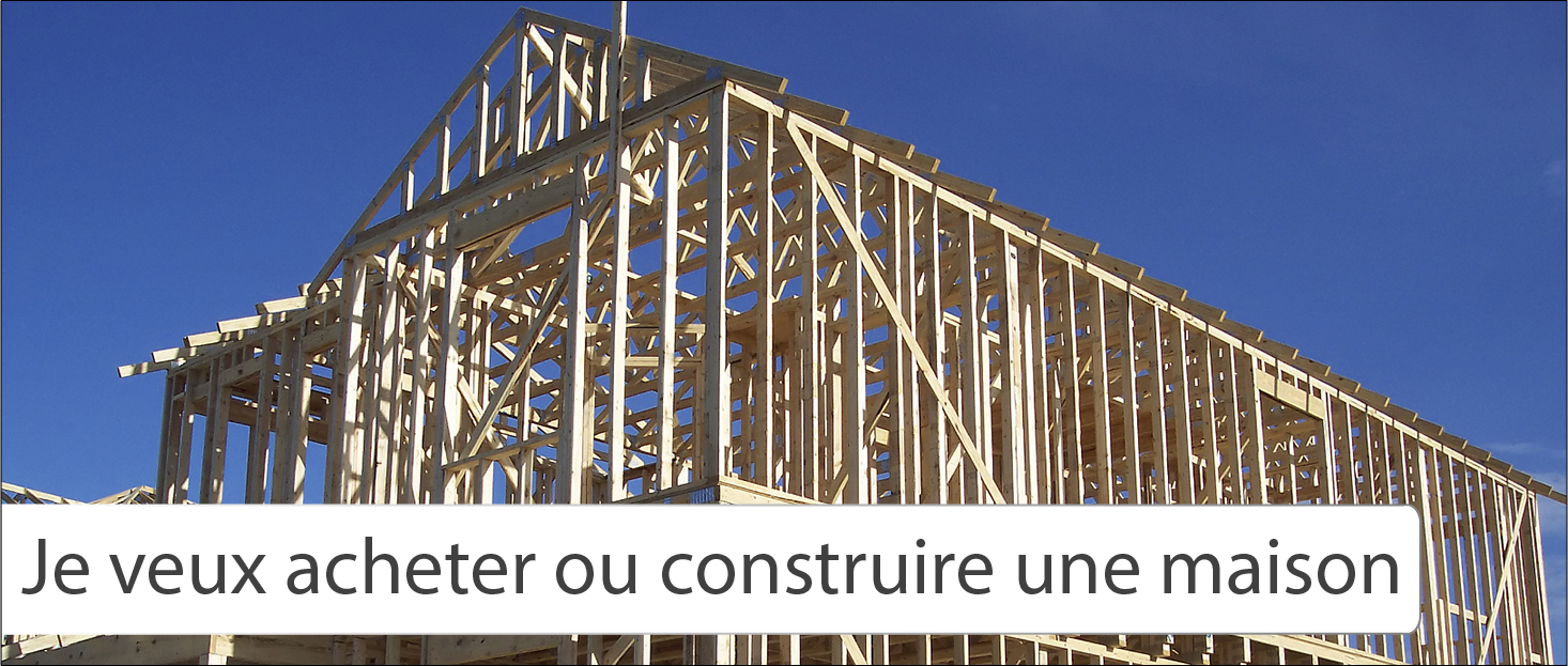Decorative image of a home under construction. Text caption reads 'I want to buy or build a home'
