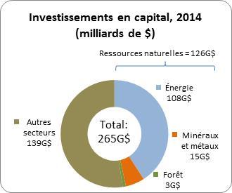 Investissements en capital, en 2013 (milliards de dollars)