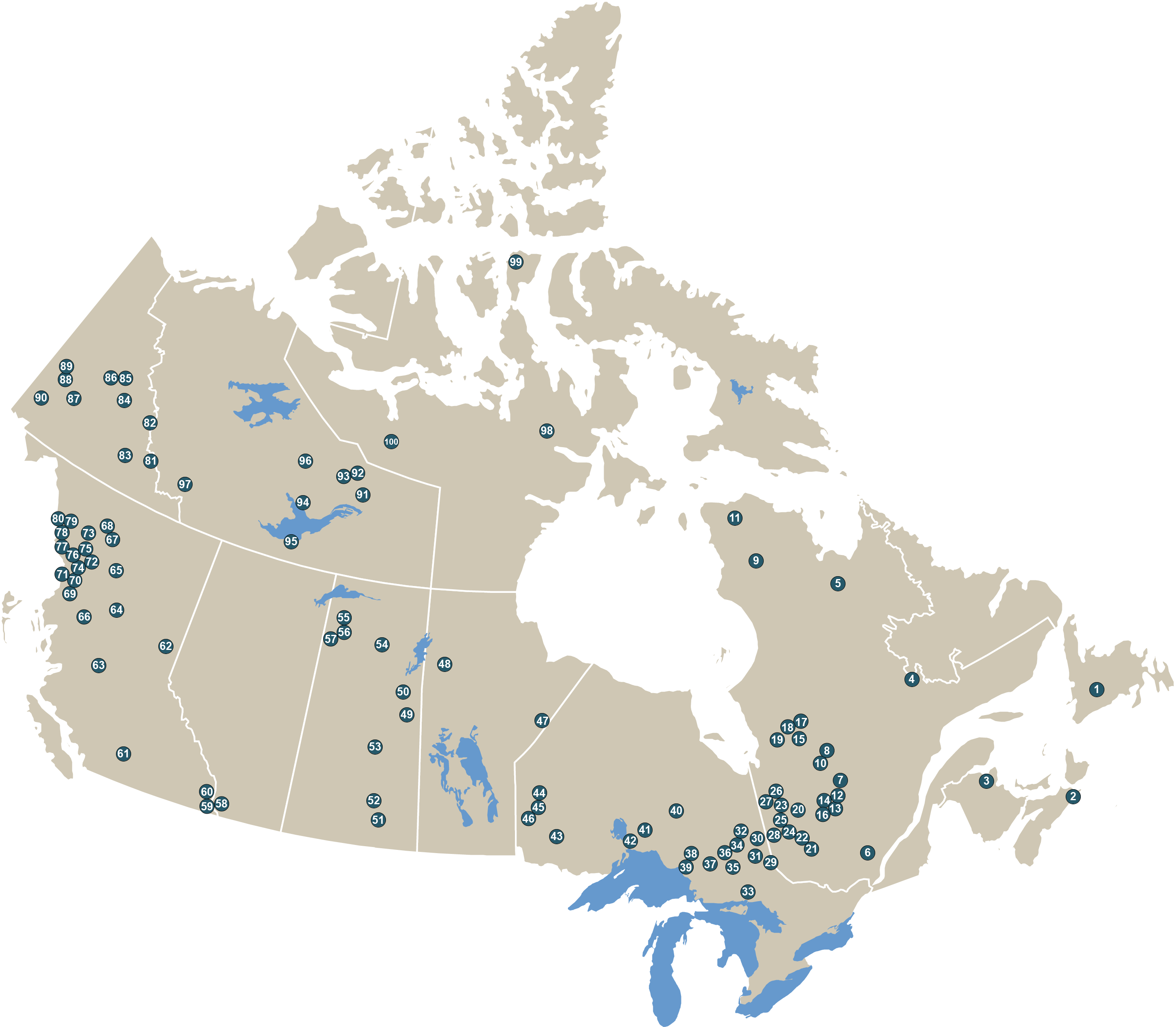 This image is a map of Canada that displays geographically, by province and territory, the locations of the top 100 off-mine-site exploration and deposit appraisal projects of 2018.